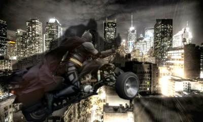 Chibatman Drives Through City