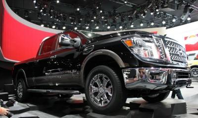 2016 nissan titan detroit auto show debut diesel cummins grille wheels f-150