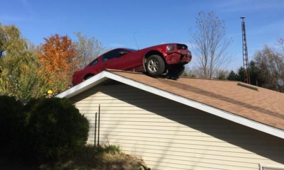 ford mustang on rooftop
